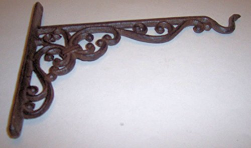 Aunt Chris' Products - Heavy Cast Iron - 10 Inch Wall Mount - All-Purpose Hanger - Bronze Rustic Primitive Design - Indoor or Outdoor Use - Also Can Be Used For Shelf Bracket (Rubbed Hanger Bronze Outdoor)