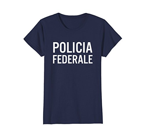 Womens Policia Fed Mexican Police Halloween Party Costume Shirt Small Navy