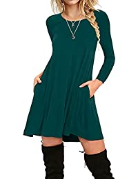 Women's Long Sleeve Pockets Casual Plain T-Shirt Loose...