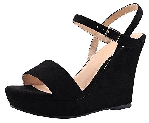 Cambridge Select Women's Open Toe Single Band Buckle Ankle Strappy Platform Wedge Sandal (9 B(M) US, (Open Toe Single Band)