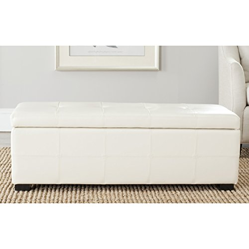 - Safavieh Hudson Collection NoHo Tufted Cream Leather Large Storage Bench