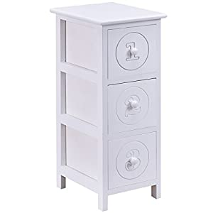 Amazon Giantex White Wooden Bedside Table Nightstand Cabinet