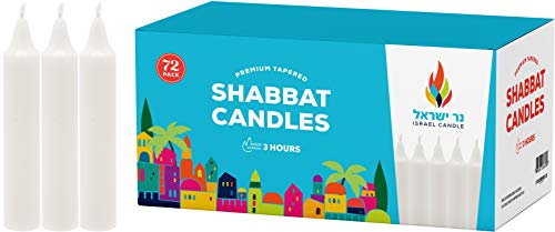 - Shabbat Candles - 72 White Taper Candles - Shabbos Candles by Israel Candle 3 Hr. - 72 Ct.