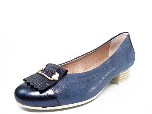 Zapato salón marca PITILLOS, piel grabada color azul marino, tacón y adorno flecos/metal - 1050 - 562 (39, azul marino)