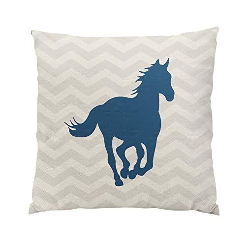 Solid Gold Animal Skin Cream - Gygarden Horse Chevron Navy Blue Grey Cream Romantic Hidden Zipper Home Sofa Decorative Throw Pillow Cover Cushion Case 18x18 Inch Square Two Sides Design Printed Pillowcase