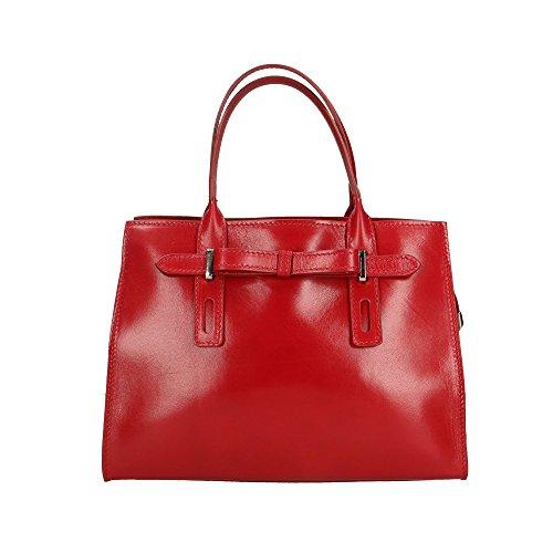 Aren Bolso de mujer en cuero auténtico Made in Italy - 30x22x13 Cm Rojo