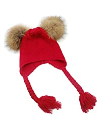 MIOIM Baby Boys Girls Raccoon Fur Double Pompom Ball Hat Winter Knitted Warm Ski Cap