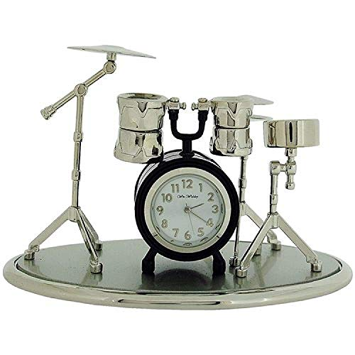 (Miniature Drum Kit Novelty Silvertone & Black Coating Collectors Clock 9078)