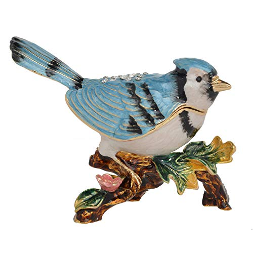 Blue Jay Bird Trinket & Jewelry Box Pewter Ornament Collectible Figurines Creative Gifts Ring Container Necklace Holder