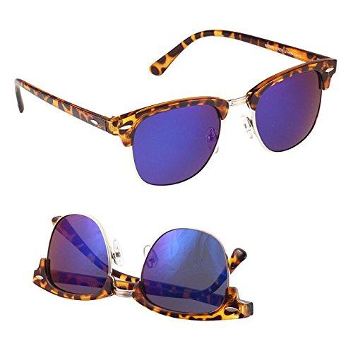 Sonnenbrille Clubmaster 400 UV Metallsteg Trapez Gläser Ziermandel lila wuFnD