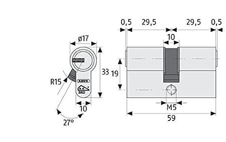 Wendeschl/üssel Abus EC550NP Profilzylinder EC550 NP mit N+G 55//60 Lg 55//60mmm.3 Schl/üssel