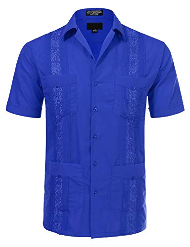 JD Apparel Men's Short Sleeve Cuban Guayabera Shirts15-15.5N Medium Royal Blue ()