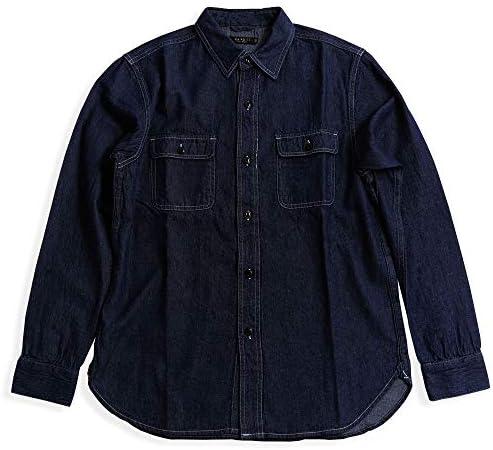 インディゴ デニムシャツ 長袖 メンズ ワバッシュ ワークシャツストライプ ウォバッシュ アメカジ 01-79823