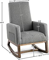 Giantex Upholstered Rocking Chair Modern High Back Armchair Comfortable Rocker Fabric Padded Seat Wood Base Rocking Chair For Nursery Gray Amazon Sg Home