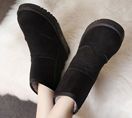 MEILI Damenschuhe, Damenstiefel, Stiefel, rutschfeste, Baumwollstiefel, Schneeschuhe, verdickt, warm, Damenstiefel, flache Schuhe, Stiefel, Mode, lässig, wild black