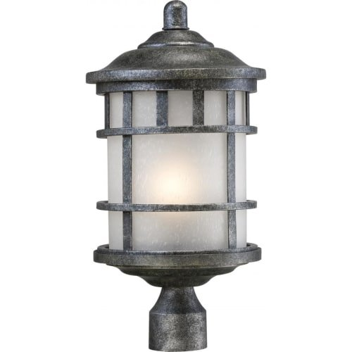 - Nuvo Lighting 60/5635 Manor Industrial Post One Light Lantern 100-watt A19 Outdoor Porch and Patio Lighting with Frosted Seed Glass, Aged Silver