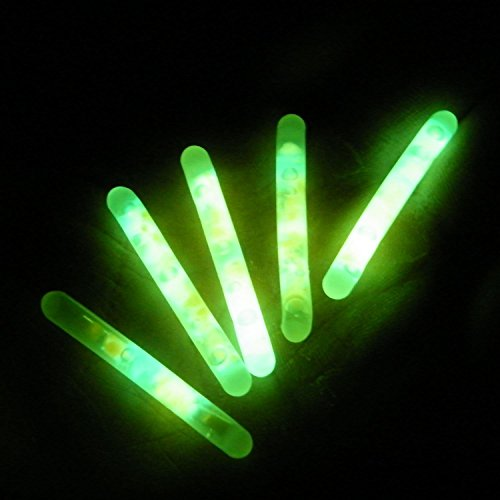 TENCHOE Float Glow Stick Night Fishing Green Fluorescent Light Diameter 4.5mm 50pcs (Greens Floating Sticks)