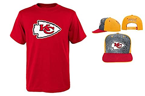 Kansas City Chiefs NFL Youth Size Performance T-shirt With Cap Set (Youth Large 14/16) (Chiefs T Shirt Youth)