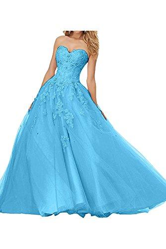 Abendkleider Abiballkleider La mia Lang Traumhaft Herzausschnitt Braut Blau Spitze Damen Abschlussballkleider 0RBY0