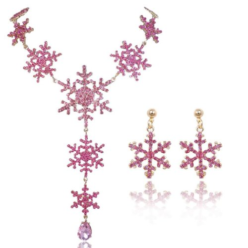 EVER FAITH Gold-Tone Tear Drop Snowflake Necklace Earrings Set Austrian Crystal Pink