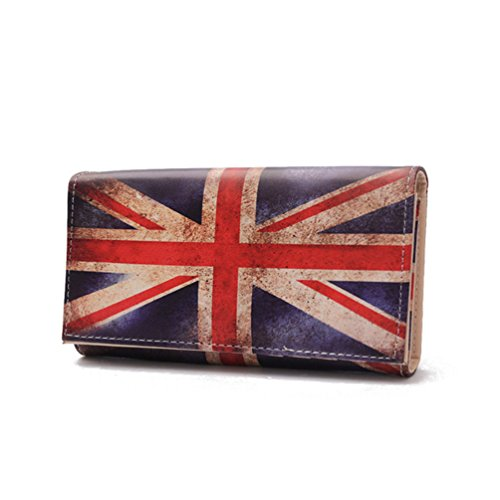 LIZHIGU British Union Jack UK Flag Print Faux Leather Zip Around Wallet for Women 0742 UK - Shoping Uk In