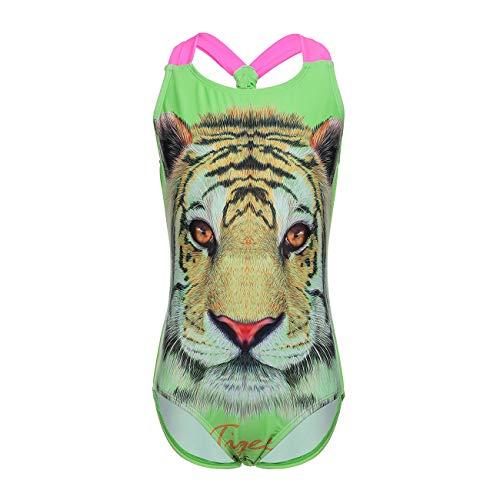 DAYU Girls Tiger Print One Piece Swimsuits Beach Sports Swimwear, 12-14 - Green Tiger Print