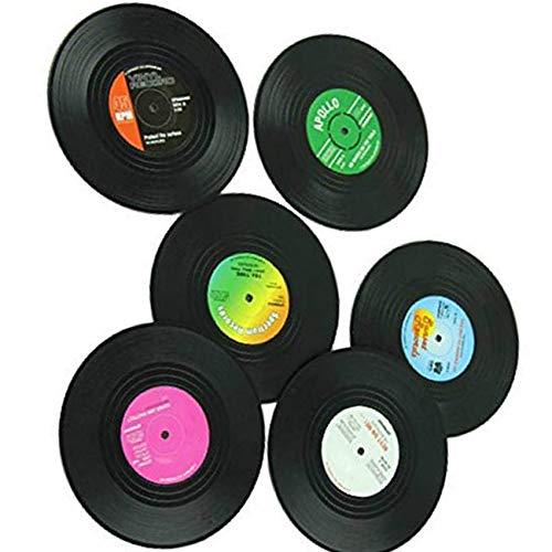 Lorsoul 6pcs / Set CD Vinyle Coaster Record de la Coupe Boissons Porte-Mat Arts de la Table en Verre Thé napperon Pad Décoration - Divers Patern