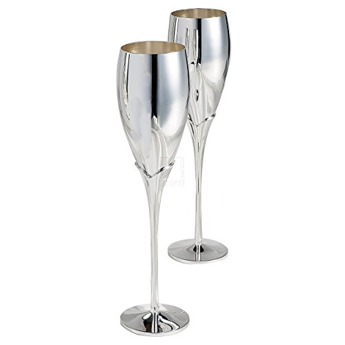 Elegance Silver Pair of Silver Champagne (Silver Champagne Flutes)