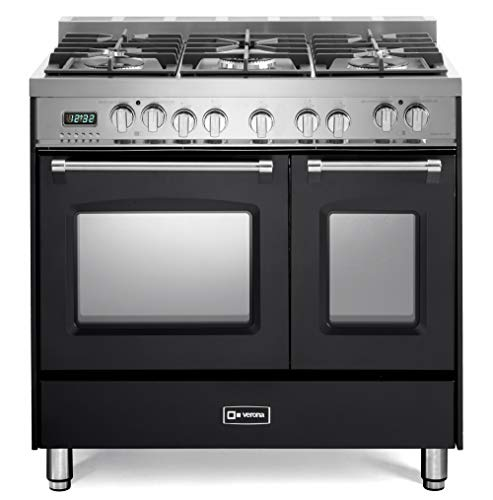 - Verona Prestige VPFSGE365DE 36 inch. Dual Fuel Range 5 Sealed Burners Double Oven Convection Storage Drawer Matte Black