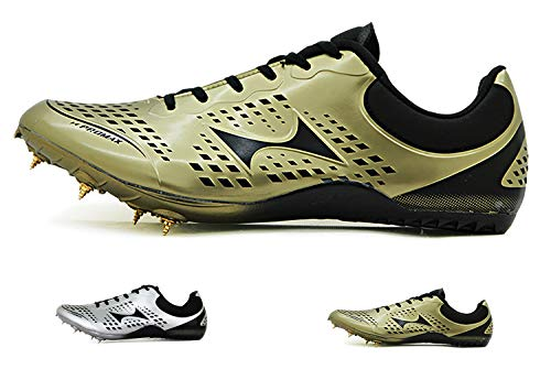 HEALTH Women's Men's Track and Field Shoes Track Spike Running Sprint Shoes Mesh Breathable Professional Athletic Shoes Gold (Best Track And Field Shoes)