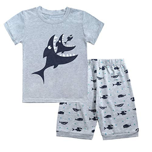 (TIFENNY Children Letter Printed Short Sleeve Tops+Puppy Pattern Pants Clothes Gray)