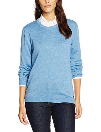 Tom Tailor Denim Basic Round Neck Pullover, Suéter para Mujer Azul (tinted canvas blue melange)