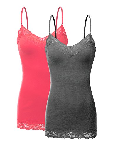 RT1004 Pack Ladies Adjustable Spaghetti Strap Lace Tunic Camisole 2Pack-HE.CHC/Coral S ()