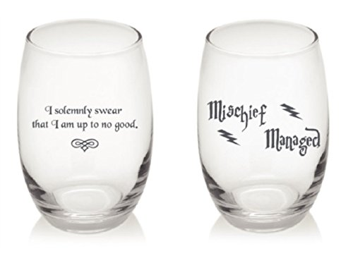 I Solemnly Swear That I Am Up To No Good and Mischief Managed Harry Potter Quote Gift Set of 2 Stemless Wine Glasses (Swear Mischief Combo)