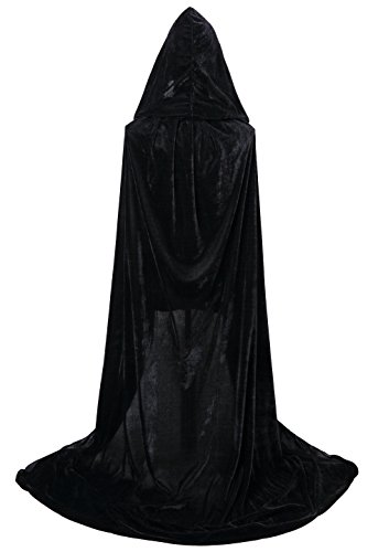 VGLOOK Hooded Cloak Long Velvet Cape for Christmas Halloween Cosplay Costumes 59″
