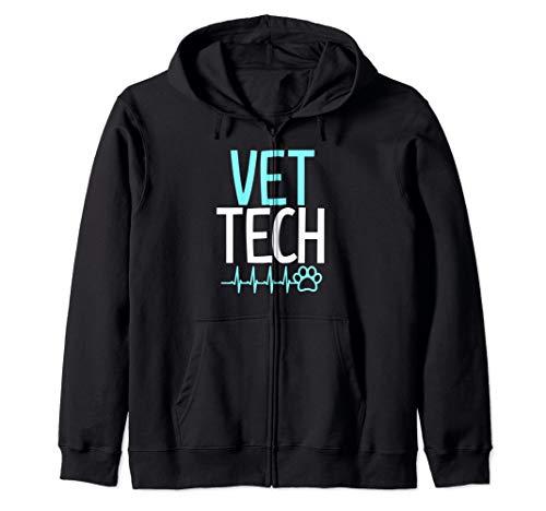 Vet tech veterinary technician shirt gift paw print ekg Zip Hoodie