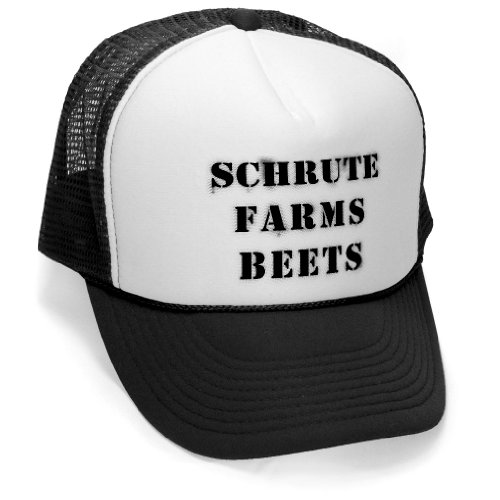 - SCHRUTE FARMS - office beets tv funny show Mesh Trucker Cap Hat, Black