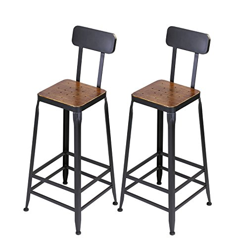 VILAVITA Set of 2 Pine Wood Bar Stools, Wooden Top with Metal Frame Bar Stool, Barstool Chairs with Wooden Seat, Retro Finish