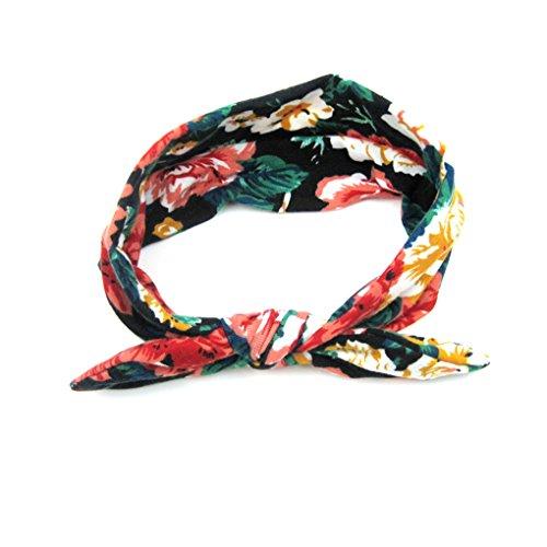 QHGstore 5pcs nette Kaninchen-Ohr-Haar-Band-Baby-Blumen-Band zufällige Farbe rote Rose