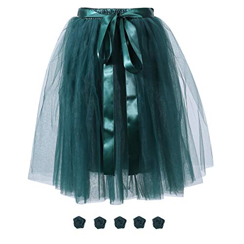 Women's Solid A Line Midi/Knee Length Tulle Skirt Grils's Tutu Skirt Formal Skirts Dance Tutu Flowers for DIY Dark Green -