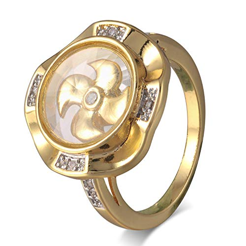 FM FM42 Gold-Tone Kinetic Moving Windmill Glass Locket Ring, The Windmill in The Glass Locket Could Rotate 360 Degrees with a Shake (Size 7) ZR1054-7