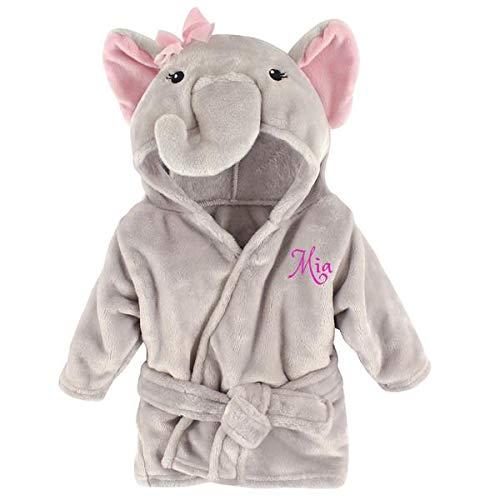 Personalized Baby Bathrobe -Custom Monogram/Name Embroidered Gift/Present/Infant/Baby Shower or Birth Baby Robe & Bathrobe (Pink Elephant)