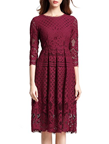 VEIISAR Women's 3/4 Sleeve wine red Lace Fit and Flare Cocktail Party Dress -2RED XS