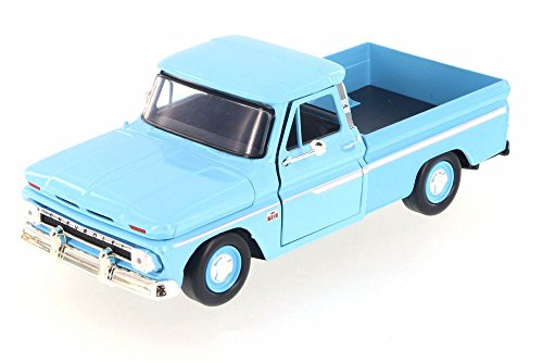 Motor Max 1966 Chevy C10 Fleetside Pickup, Light Blue 73355AC/LBU - 1/24 Scale Diecast Model Toy Car