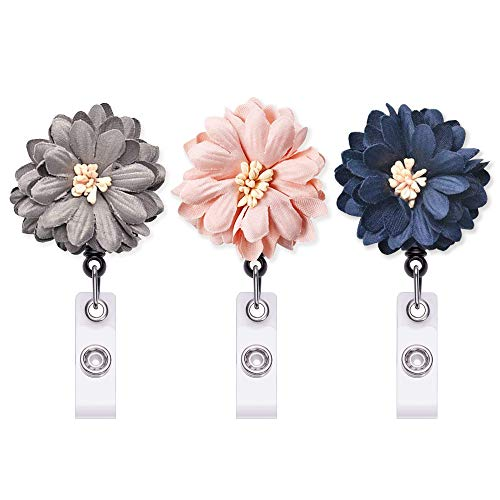 Retractable Badge Holder 3Pack, ID Badge Reel with Alligator Clip, Nurse Badge Holder with Daisy …