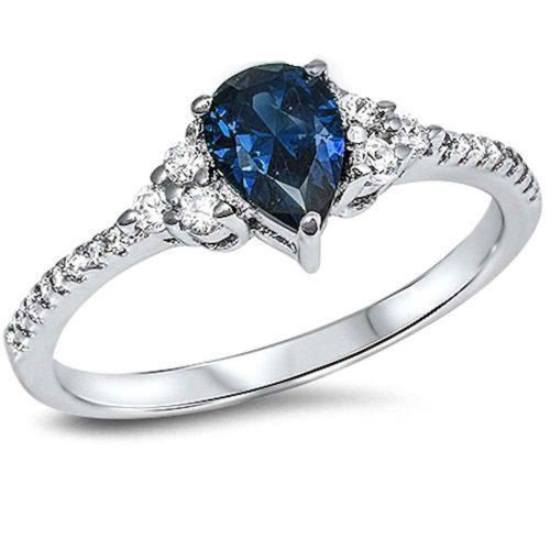 Oxford Diamond Co Pear Shape Simulated Sapphire & Cz .925 Sterling Silver Ring Size 11 -