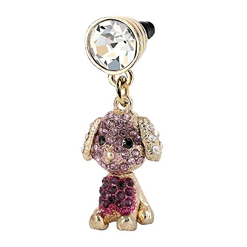 Purple Crystal Dog Puppy Phone Charm Anti Dust Plug in Monnel Velvet Bag MP85