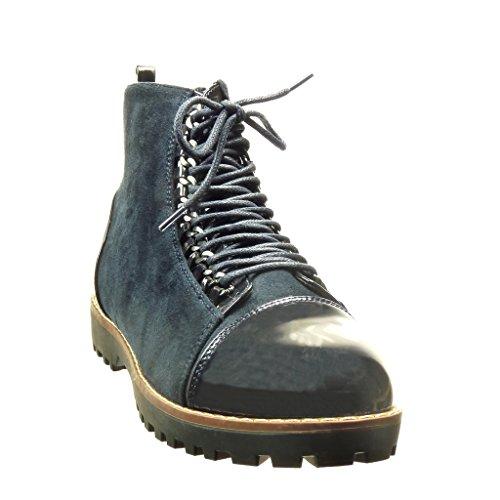 Angkorly - damen Schuhe Stiefeletten - Combat Boots - bi-Material - Kette - Patent Blockabsatz 2.5 CM Blau