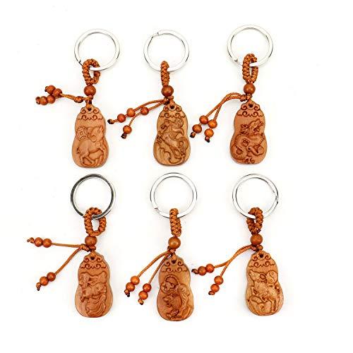 JETEHO 6 Styles Feng Shui Wood Carved Lucky Zodiac Key Ring/Key Chain, Bag Pendant for - Zodiac Key