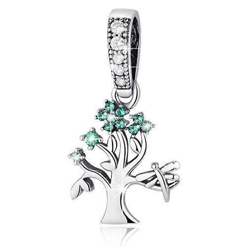 - BAMOER Tree Charms Bead Authentic 925 Sterling Silver Tree Life Family Dangle Charms Pendants fit European Bracelet Necklace Tree 5